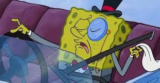 Spongebob fancy pants in a car